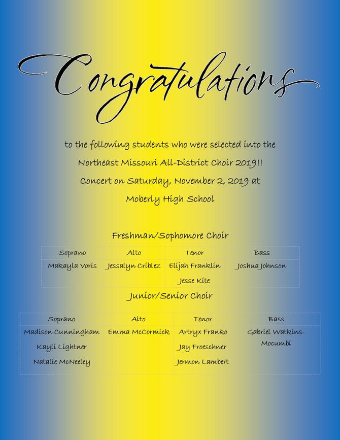 Northeast Missouri All-District Choir Results 2019!!