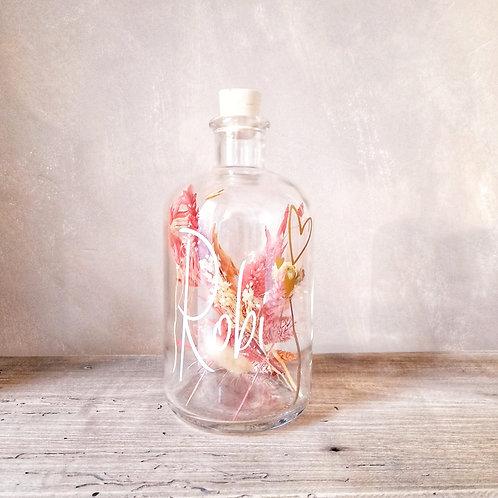 Droogbloemen fles M customized met naam / afbeelding