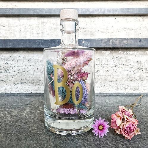 Droogbloemen fles S customized met naam / afbeelding