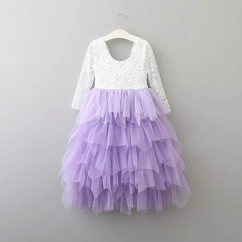 LAVENDER Alpenglow Ruffle Dress - Ankle Length