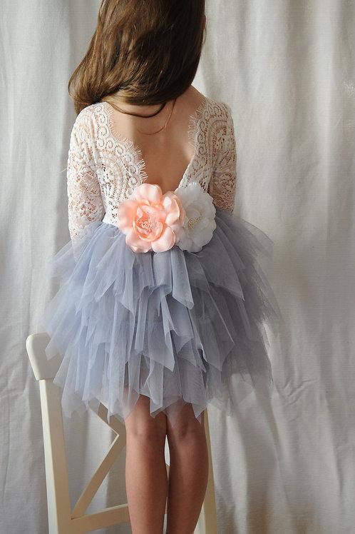 GREY Alpenglow Ruffle Dress - Knee Length - Long Sleeve