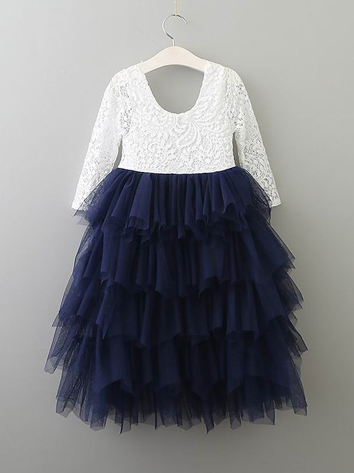 NAVY Alpenglow Ruffle Dress - Ankle Length - Long Sleeve
