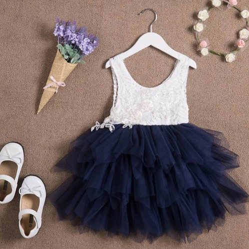 NAVY Alpenglow Ruffle Dress - Knee Length