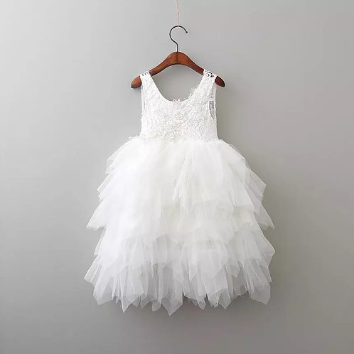 WHITE - AlpenGlow Ruffle Dress  - Ankle Length.