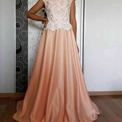 Custom Lace Floor Length Gown.
