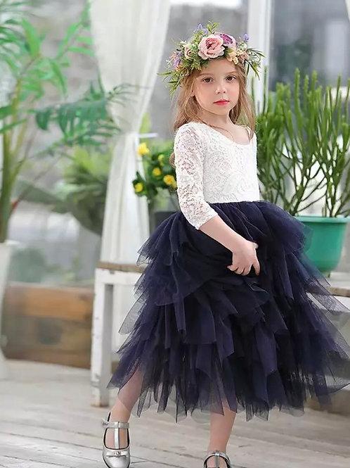 NAVY Alpenglow Ruffle Dress - Ankle Length