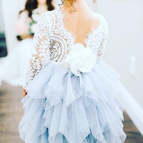 GREY Alpenglow Ruffle Dress - Ankle Length - Long Sleeve