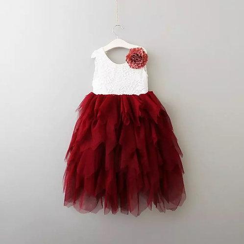MAGENTA - AlpenGlow Ruffle Dress in  - Full Le