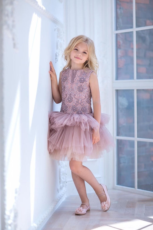 Embroidered Low Waist Tutu Dress