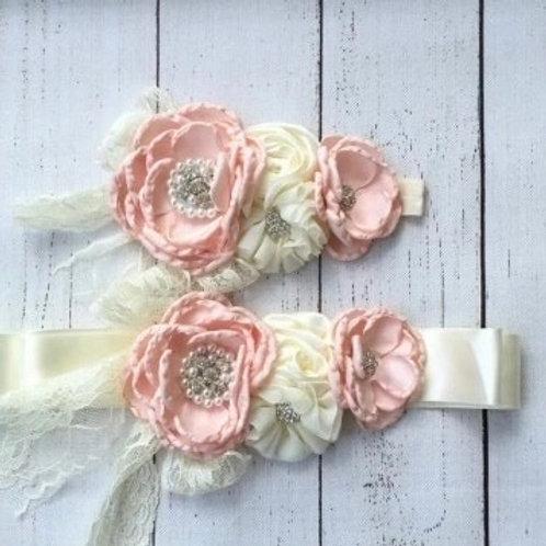 Charlotte Floral Floral Sash & Headband Set.