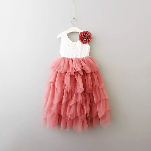 DUSKY ROSE - AlpenGlow Ruffle Dress -