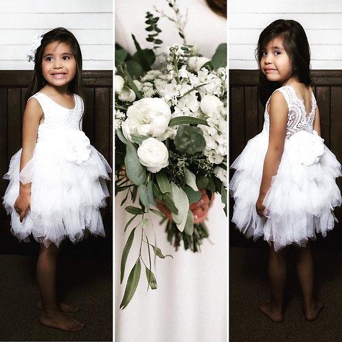 WHITE - Alpenglow Ruffle Dress - Knee Length