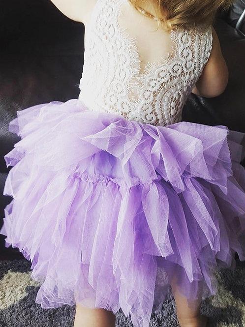 LAVENDER AlpenGlow Ruffle Dress -  Knee Length