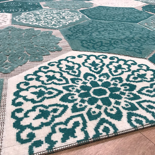 Shaz Hexagon Teal - 160x230cm