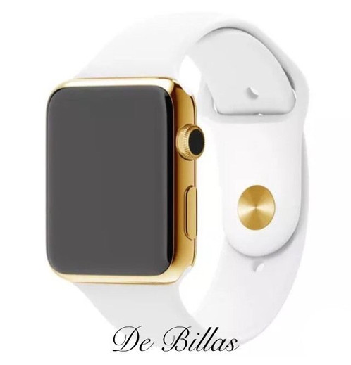 38mm apple watch series 2 24k gold plated w white sport band