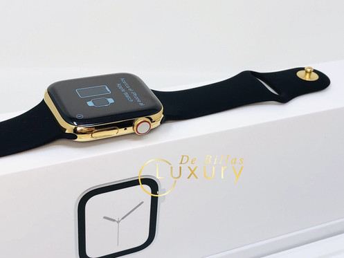 huge selection of 3fd57 5607c 24k Gold Plated Series 4 Apple watch with black sports band