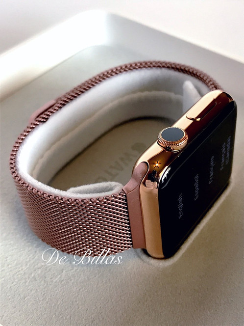 24k rose gold plated 42mm apple watch gen 1 rose milanese loop gold plated apple samsung for Rose gold apple watch