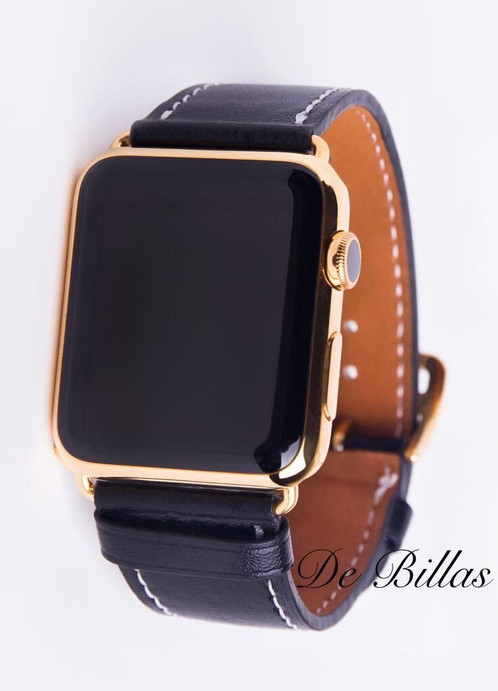 24k gold apple watch series 2 42mm black leather band