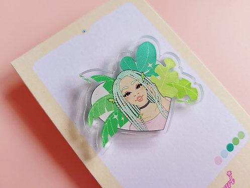 Mint Plant Girl Pin