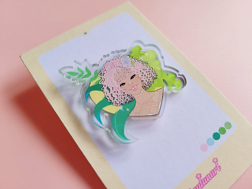Pink Plant Girl Pin