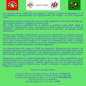 Saludos desde la CLOC-VC Chile por los resultados en las elecciones 2021