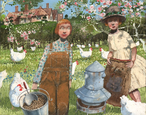 The Field Of White Hens