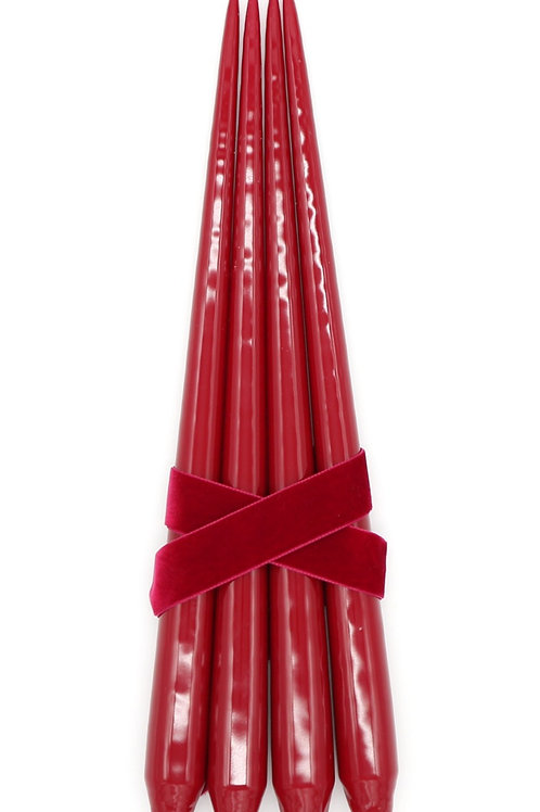 Taper Candles, Dark Red (Set of 4)