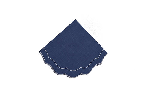 Linen Napkin, Scalloped Atlantic Blue (set of 6)