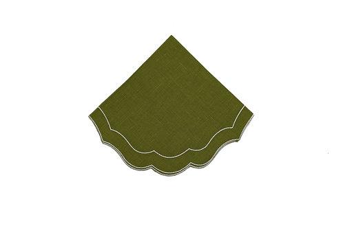Linen Napkin, Scalloped Moss Green (set of 6)