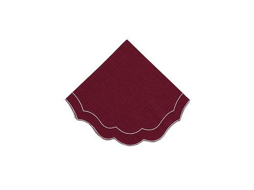 Linen Napkin, Scalloped Burgundy (set of 6)