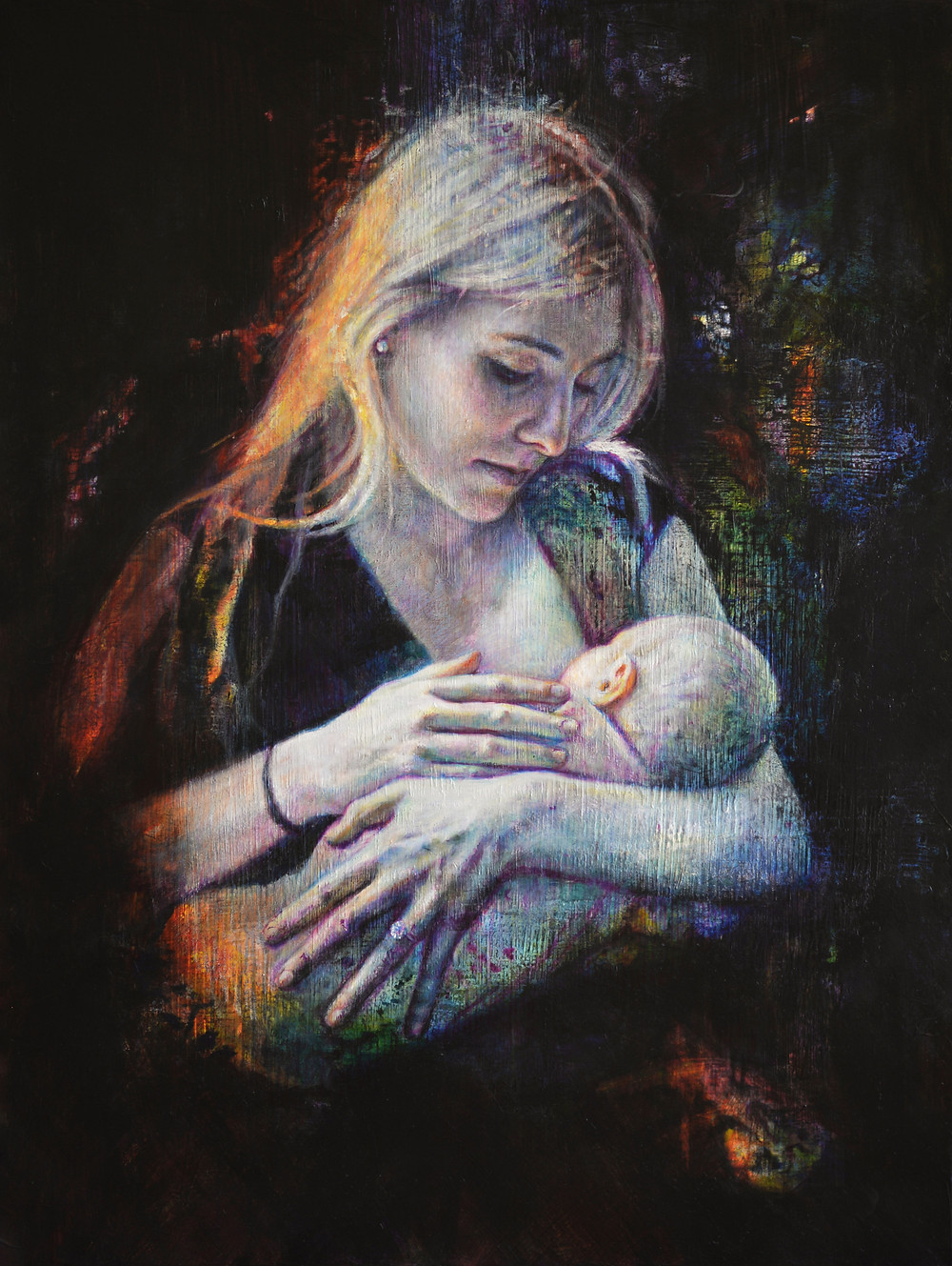 portrait of Kate Hewson and baby Scarlett Raven by Jacquie Blight