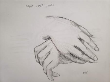 Mona Lisa's Hands Pencil Drawing