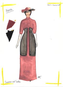 Alma's Pink Dress Rendering