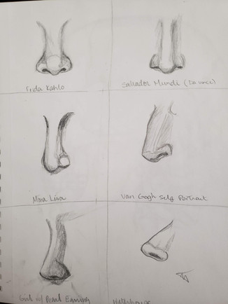 Famous Painting Noses Sketched