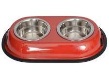 Color Splash Stainless Steel Double Diner Bowl for Dog and Cat Red 1qt