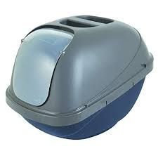 Petmate Basic Hooded Litter Pan Blue/Silver Large
