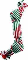 Ethical Christmas - Holiday Super Squeak 2 Knot Rope Dog Toy - Red/Green - 14 In