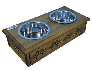 Sassy Paws Wooden Pet Double Diner with Stainless steel Steel Bowls Rustic Brown