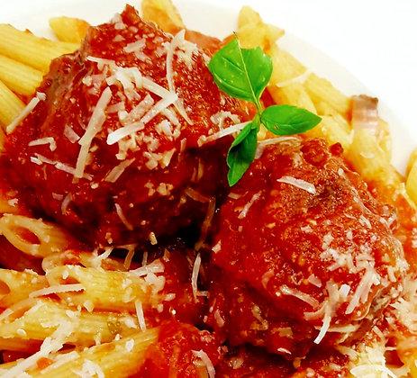 Italian meatballs in tomato sauce ready to heat