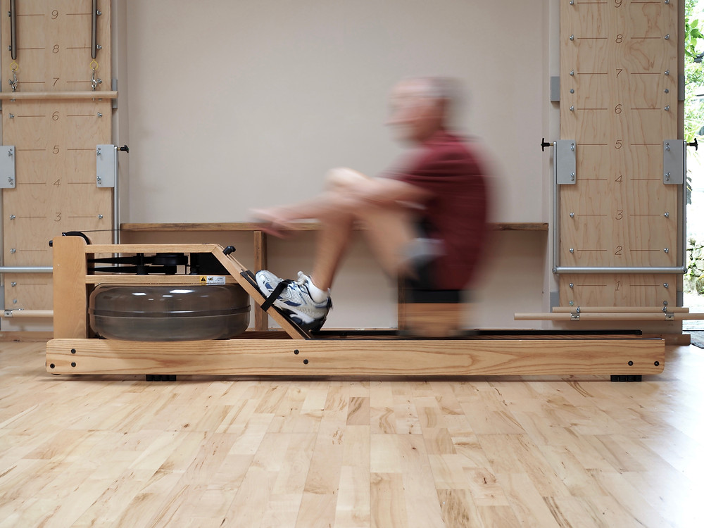 The WaterRower rowing machine in the Pilates and fitness studio at Middle Colenso Farm