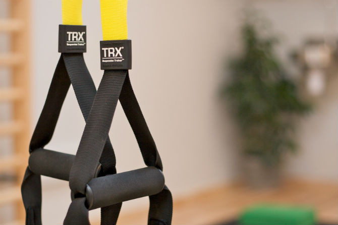 The TRX suspension trainer in the fitness studio at Middle Colenso Farm holiday cottages near Penzance