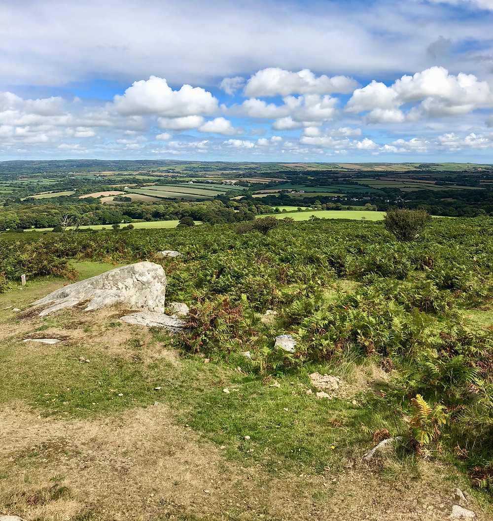 The impressive view from the top of Goldolphin Hill on a sunny day