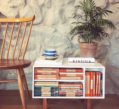 Vintage Penguin Donkey and Ercol Love Seat in living area