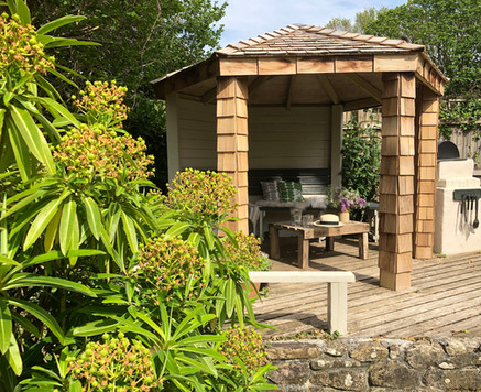 Gazebo and built-in barbecue
