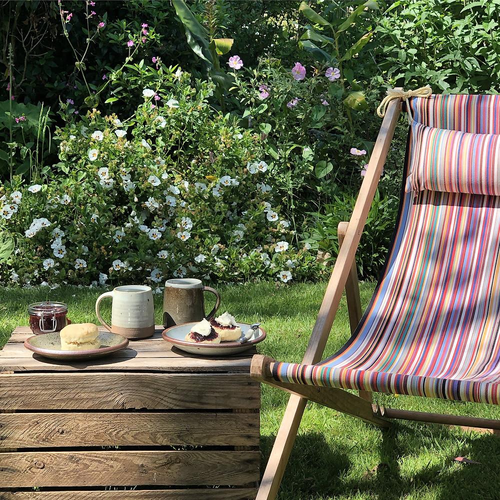 Afternoon tea served in a garden