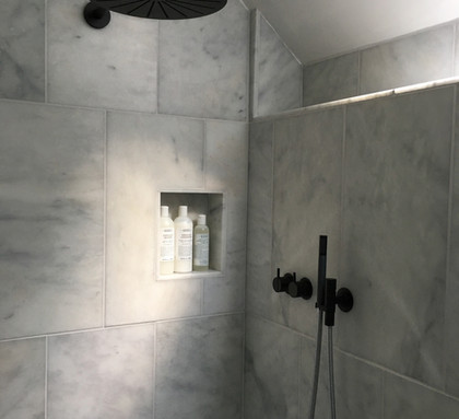 Wet room with Vola shower and underfloor heating