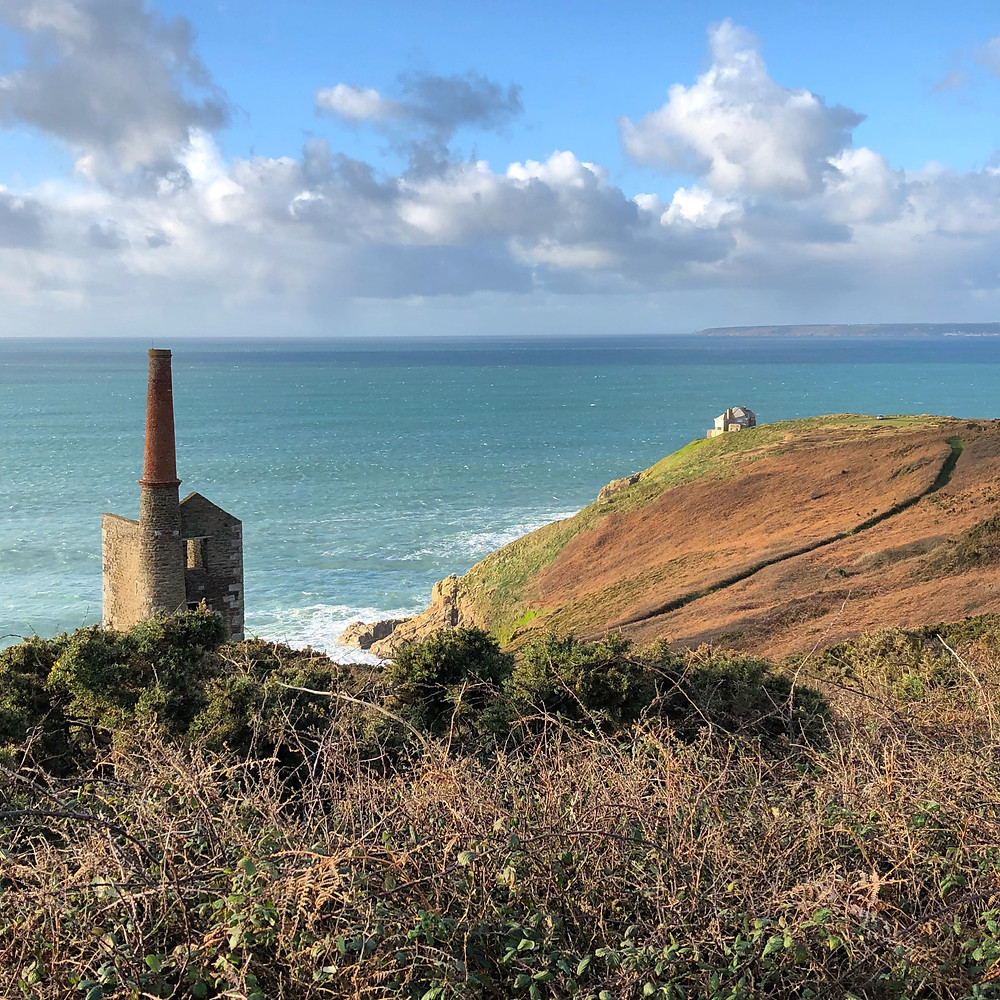The ruins of Wheal Prosper mine on the South West Coast Path near Rinsey