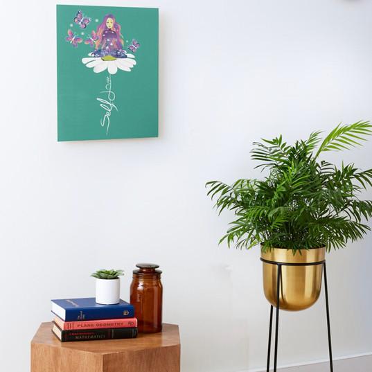 Self Love Daisy Floral Meditation Zen Spiritual Goddess Butterflies Mounted Print