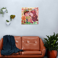 Cute Chibi Couple Soul Mate Helping Each Other Grow Metal Print