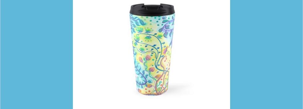 Travel mug Floral abstract